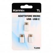 Confezione da 3 adattatori USB a USB C bianco TL200
