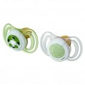 Confezione 2 succhietti anatomici Light in caucciù verde 0+m