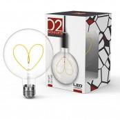 Lampadina LED Stripes Heart Globe G125 E27 5W 2700K A+