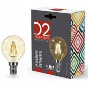 Lampadina LED Stripes Amber Sphere sfera E14 4W 2200K A+