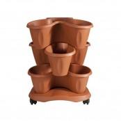 Vaso Trifoglio con sottovaso 40x51 cm col. terracotta