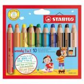 Astuccio in cartone con 10 matitoni Woody 3in1
