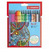 Astuccio in cartone con 18 pennarelli Pen 68
