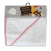 Accappatoio triangolo neonato col. bianco/rosa