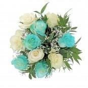 Bouquet nascita blu 5 rose bianche 5 rose blu
