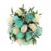Bouquet nascita blu 8 rose bianche 8 rose blu