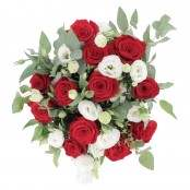 Bouquet 12 rose rosse 8 lisianthus