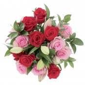 Bouquet Sogno Proibito 25 steli Gigli, Rose e Ruscus