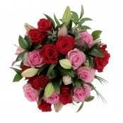 Bouquet Sogno Proibito 32 steli Gigli, Rose e Ruscus