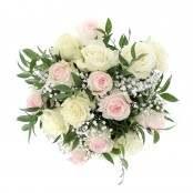 Bouquet nascita rosa 8 rose bianche 8 rose rosa