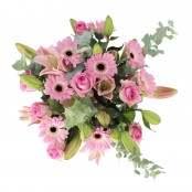 Bouquet 8 rose 8 germini e 4 lilium