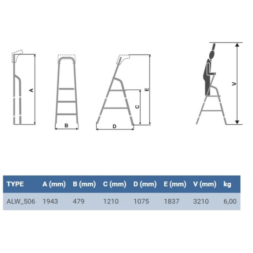 Altezza Gradini Scala scala alluminio 6 gradini