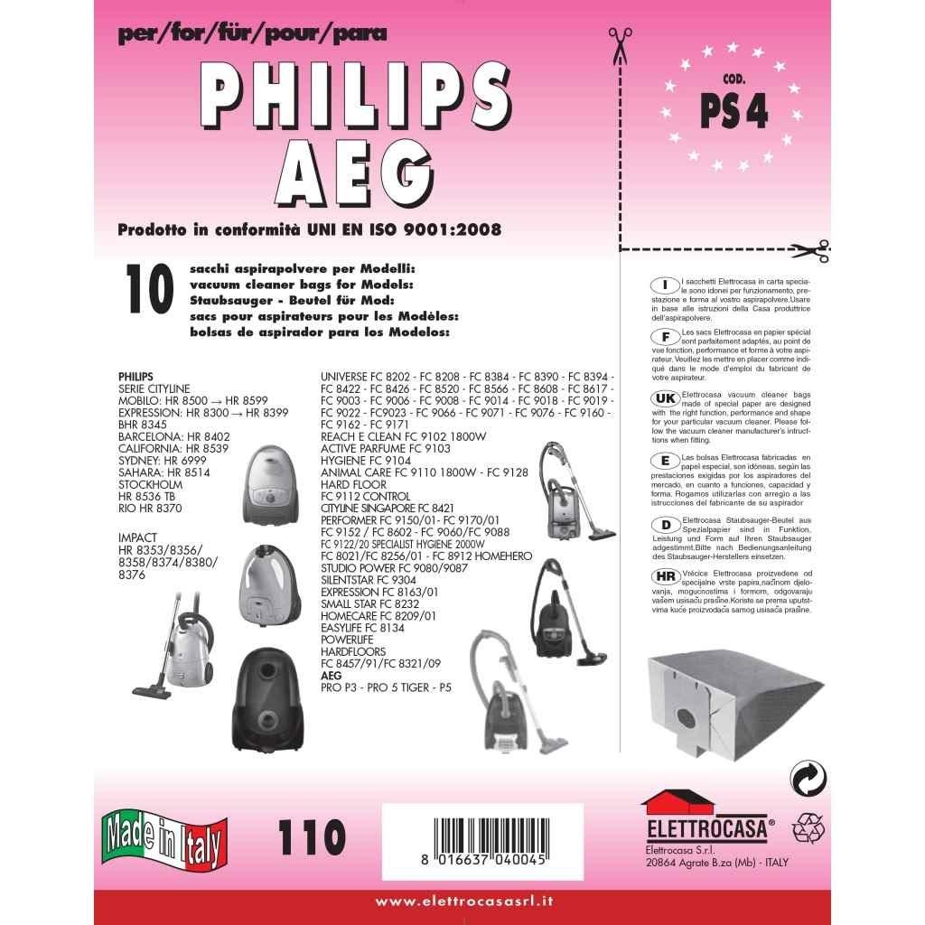 10 SACCHI PHILIPS REACH E CLEAN FC 9102//HYGIENE FC 9104