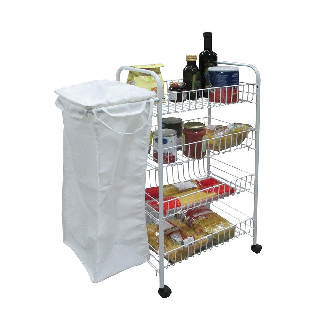 Carrello 4 rip con sacca cestelli porta verdure contenitori per alimenti a tavola e in - Sacca per tavola sup ...
